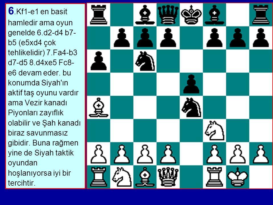 6. Kf1-e1 en basit hamledir ama oyun genelde 6