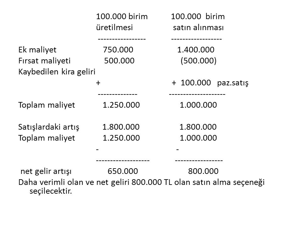 100.000 birim 100.000 birim üretilmesi satın alınması ----------------- ------------------ Ek maliyet 750.000 1.400.000 Fırsat maliyeti 500.000 (500.000) Kaybedilen kira geliri + + 100.000 paz.satış -------------- -------------------- Toplam maliyet 1.250.000 1.000.000 Satışlardaki artış 1.800.000 1.800.000 - - ------------------- ----------------- net gelir artışı 650.000 800.000 Daha verimli olan ve net geliri 800.000 TL olan satın alma seçeneği seçilecektir.