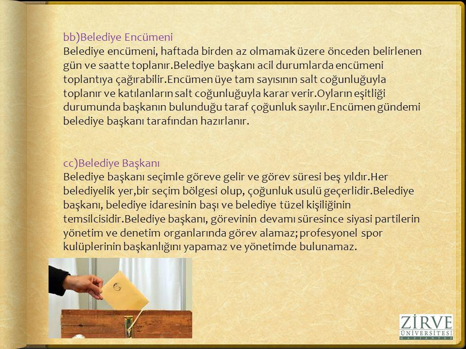 bb)Belediye Encümeni