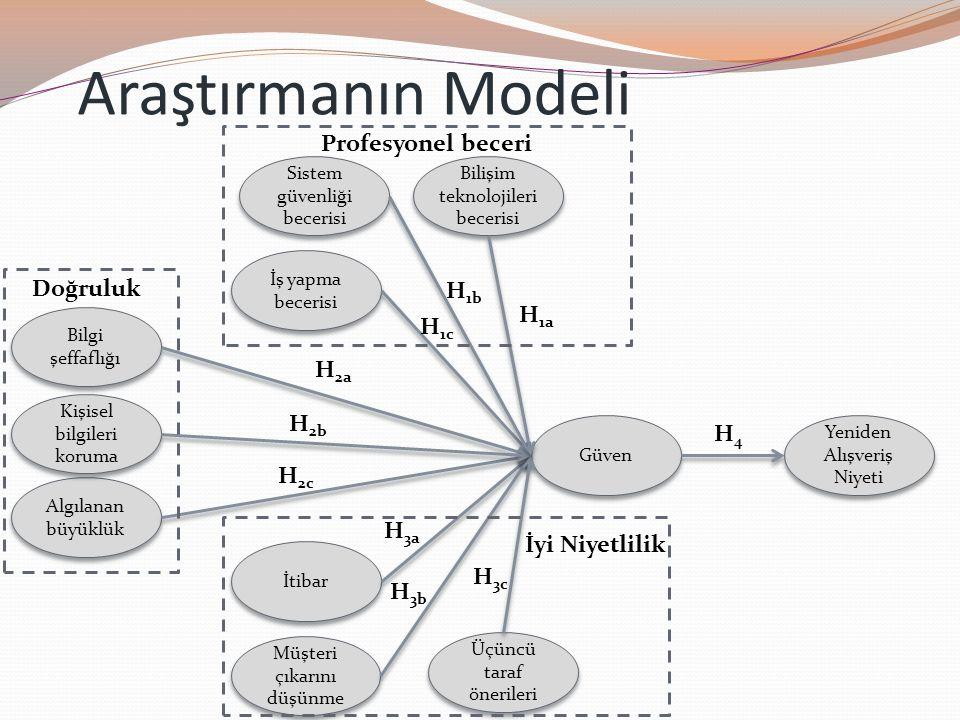 Araştırmanın Modeli Profesyonel beceri Doğruluk H1b H1a H1c H2a H2b H4