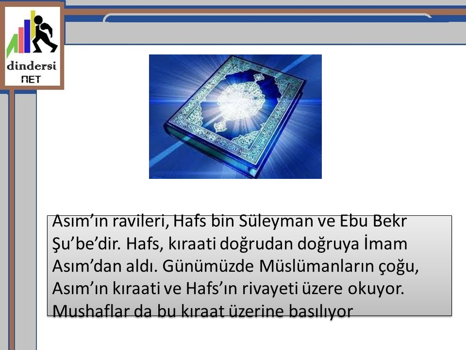 Asım'ın ravileri, Hafs bin Süleyman ve Ebu Bekr Şu'be'dir