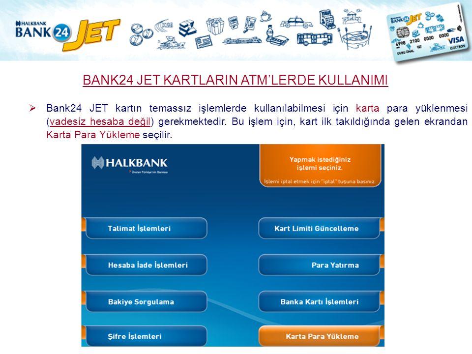 BANK24 JET KARTLARIN ATM'LERDE KULLANIMI