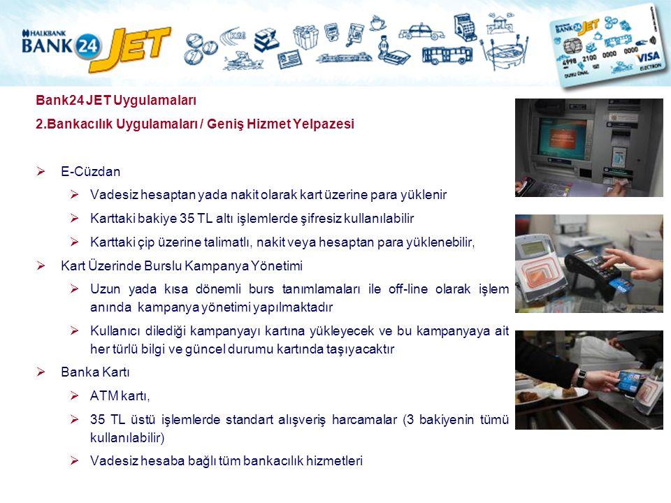 Bank24 JET Uygulamaları 2.Bankacılık Uygulamaları / Geniş Hizmet Yelpazesi. E-Cüzdan. Vadesiz hesaptan yada nakit olarak kart üzerine para yüklenir.
