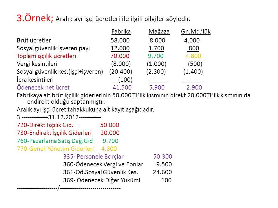 3.Örnek; Aralık ayı işçi ücretleri ile ilgili bilgiler şöyledir.