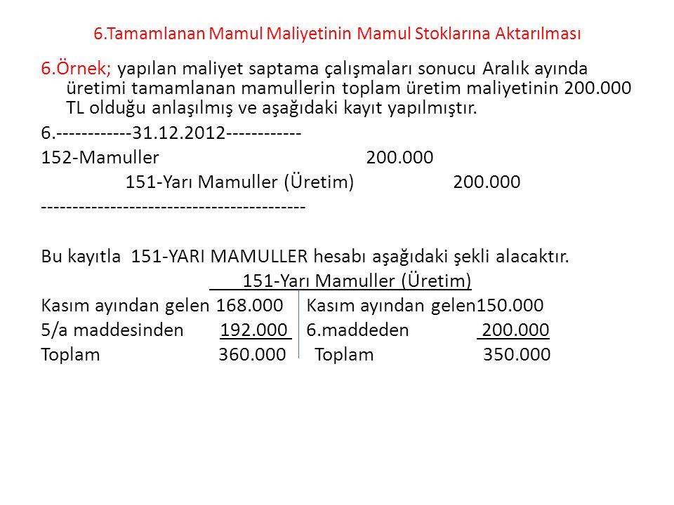 6.Tamamlanan Mamul Maliyetinin Mamul Stoklarına Aktarılması