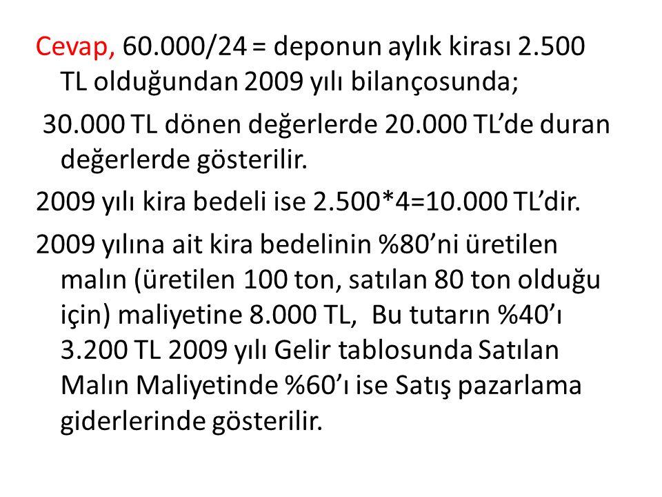 Cevap, 60. 000/24 = deponun aylık kirası 2