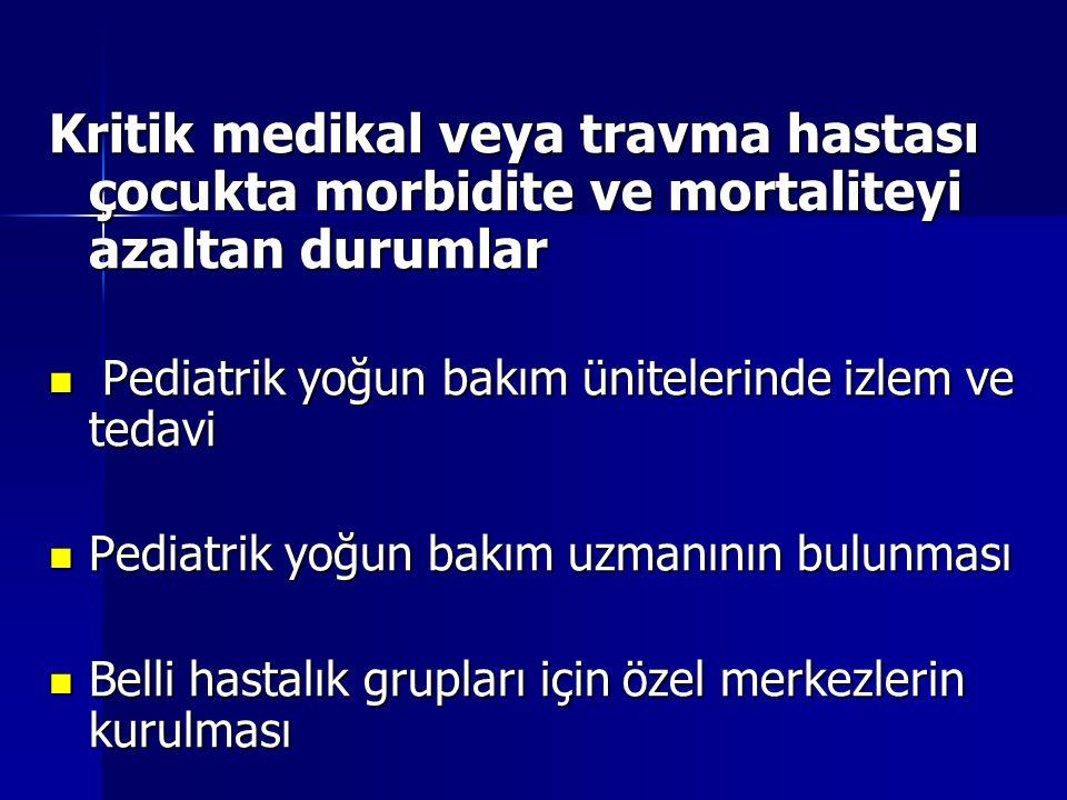 Kritik medikal veya travma hastası çocukta morbidite ve mortaliteyi azaltan durumlar
