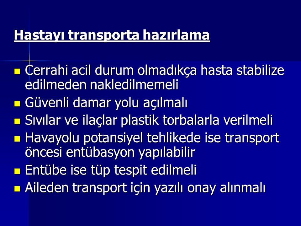 Hastayı transporta hazırlama
