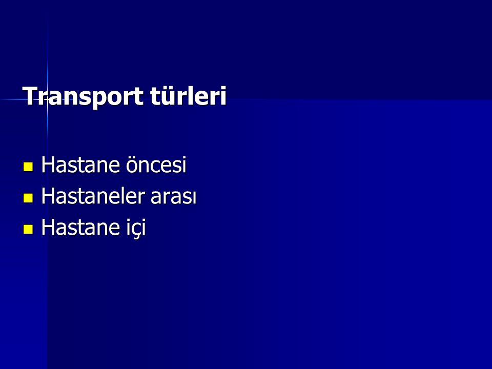 Transport türleri Hastane öncesi Hastaneler arası Hastane içi