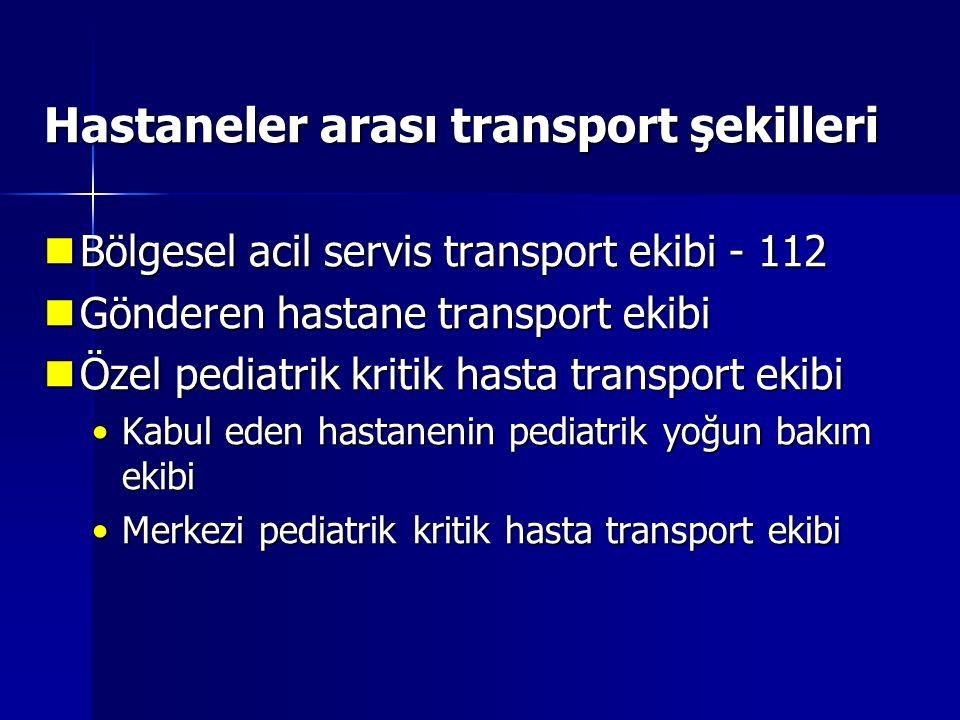 Hastaneler arası transport şekilleri