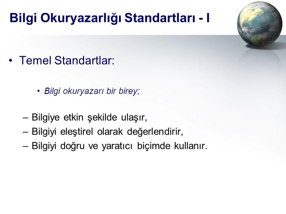 Bilgi Okuryazarlığı Standartları - I