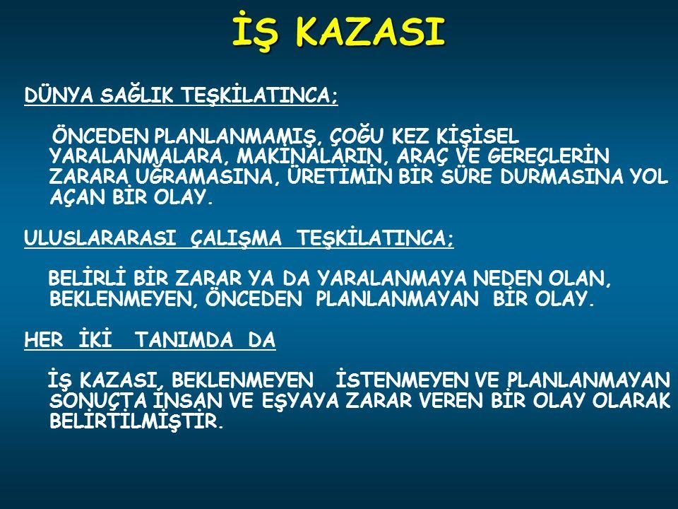 İŞ KAZASI DÜNYA SAĞLIK TEŞKİLATINCA;