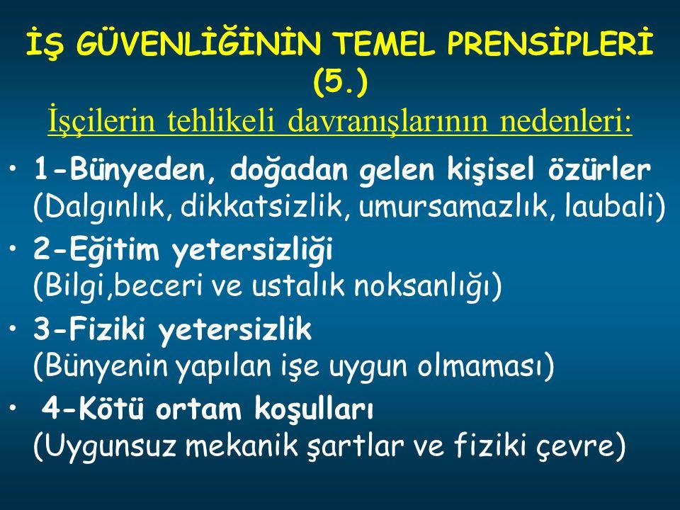 İŞ GÜVENLİĞİNİN TEMEL PRENSİPLERİ (5.)