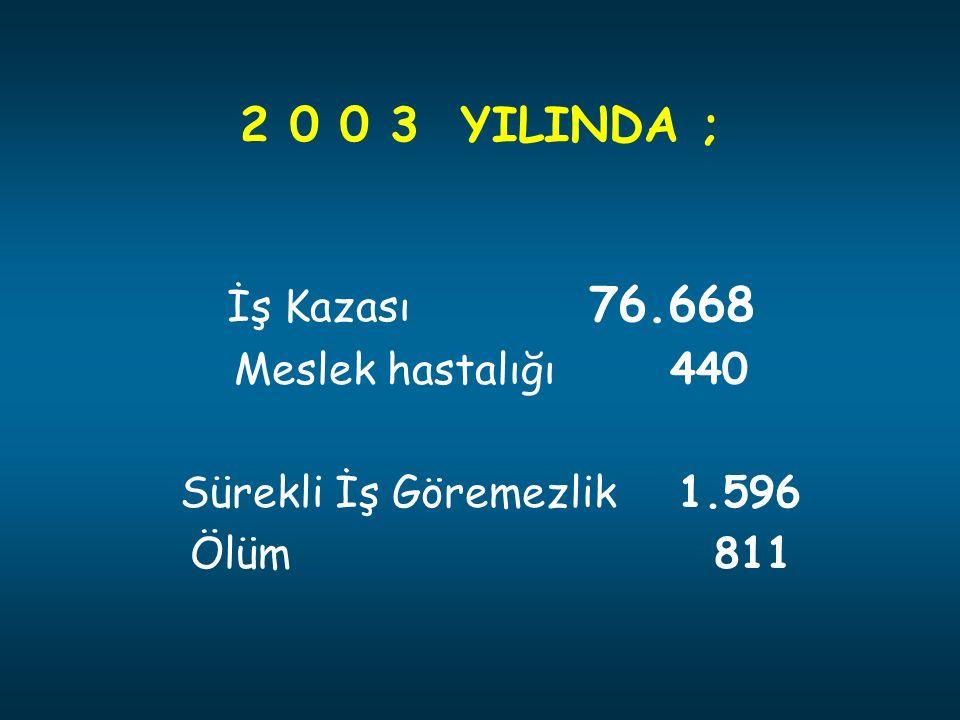 2 0 0 3 YILINDA ; İş Kazası 76.668 Meslek hastalığı 440