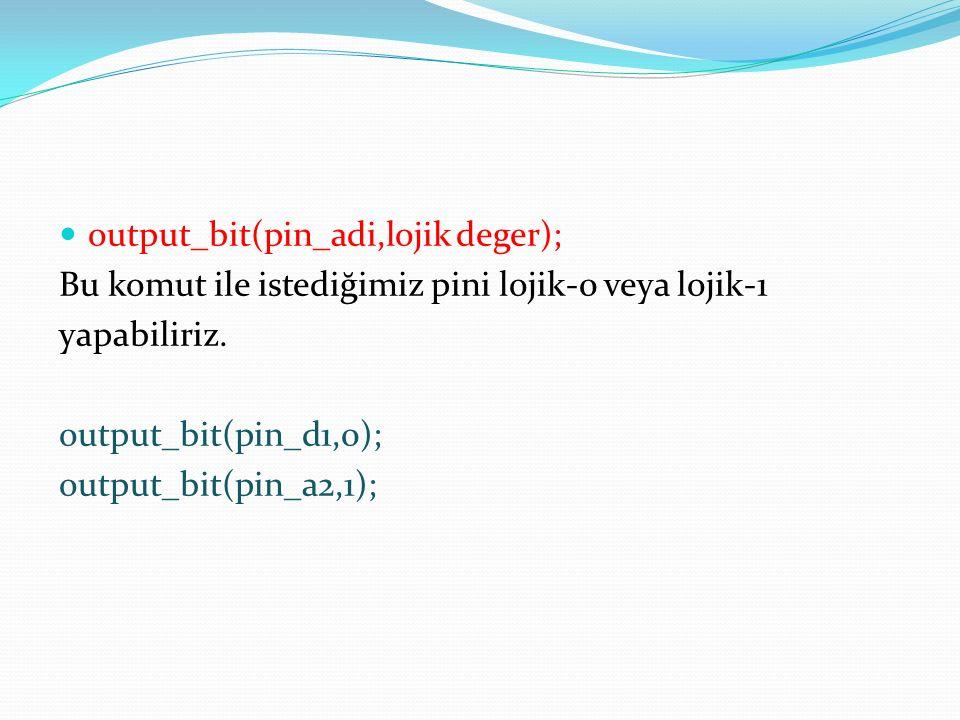 output_bit(pin_adi,lojik deger);