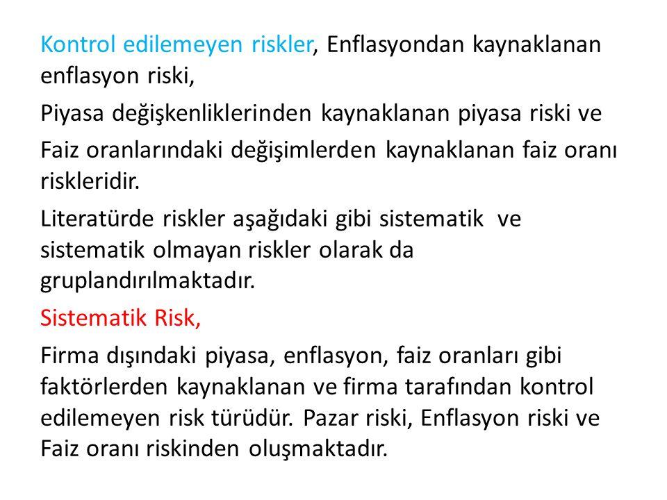 Kontrol edilemeyen riskler, Enflasyondan kaynaklanan enflasyon riski, Piyasa değişkenliklerinden kaynaklanan piyasa riski ve Faiz oranlarındaki değişimlerden kaynaklanan faiz oranı riskleridir.