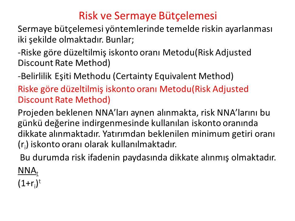 Risk ve Sermaye Bütçelemesi