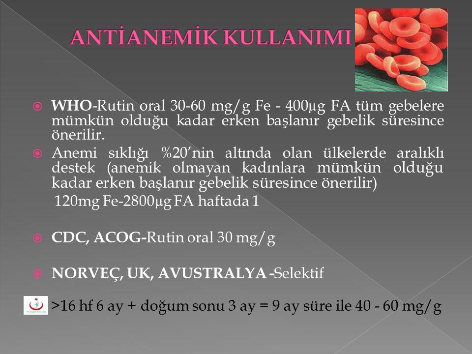 ANTİANEMİK KULLANIMI WHO-Rutin oral 30-60 mg/g Fe - 400µg FA tüm gebelere mümkün olduğu kadar erken başlanır gebelik süresince önerilir.