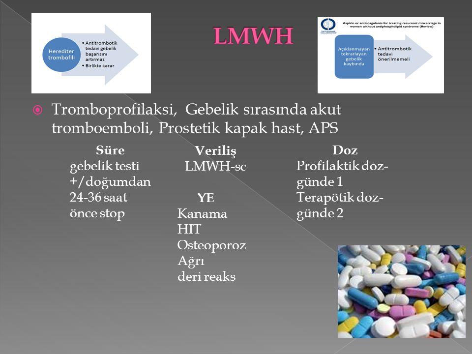 LMWH Tromboprofilaksi, Gebelik sırasında akut tromboemboli, Prostetik kapak hast, APS. Süre. gebelik testi +/doğumdan 24-36 saat önce stop.