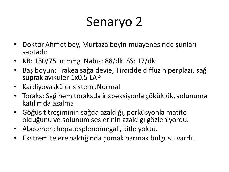 Senaryo 2 Doktor Ahmet bey, Murtaza beyin muayenesinde şunları saptadı; KB: 130/75 mmHg Nabız: 88/dk SS: 17/dk.