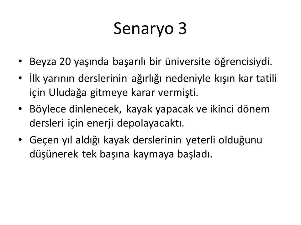 Senaryo 3 Beyza 20 yaşında başarılı bir üniversite öğrencisiydi.