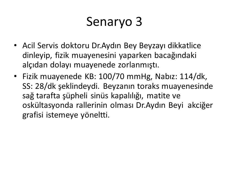Senaryo 3 Acil Servis doktoru Dr.Aydın Bey Beyzayı dikkatlice dinleyip, fizik muayenesini yaparken bacağındaki alçıdan dolayı muayenede zorlanmıştı.
