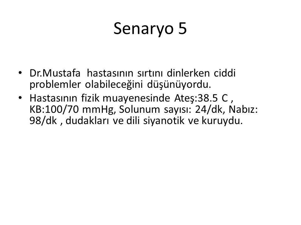 Senaryo 5 Dr.Mustafa hastasının sırtını dinlerken ciddi problemler olabileceğini düşünüyordu.