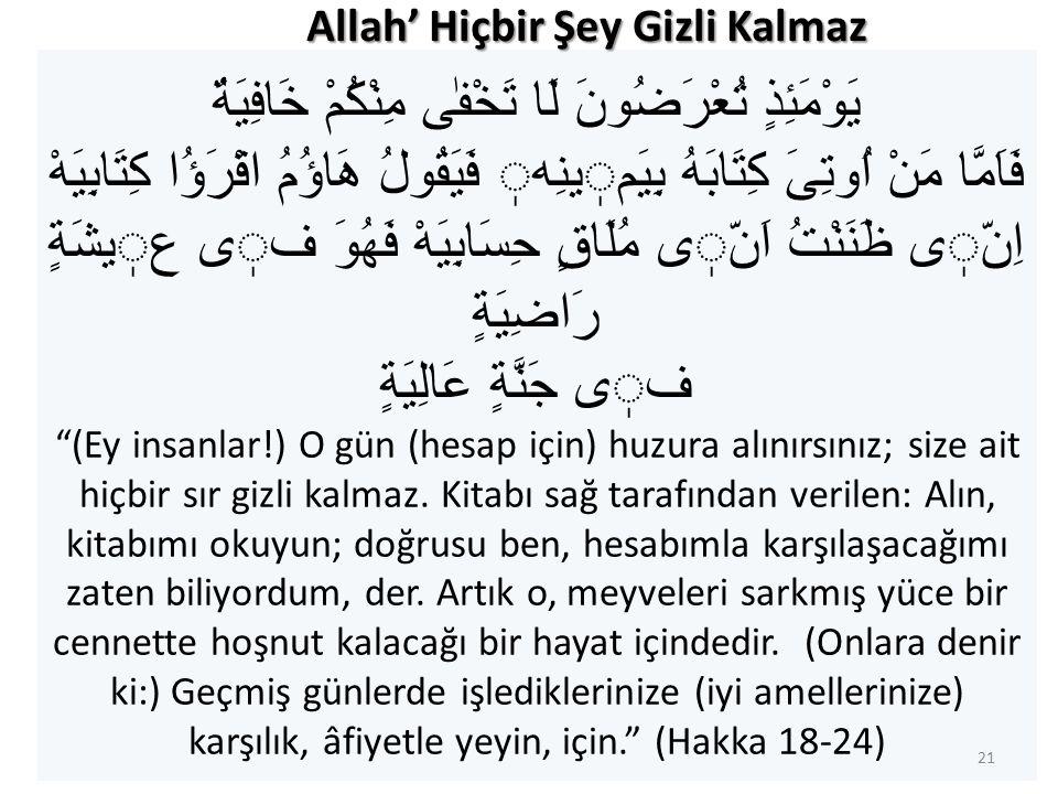 Allah' Hiçbir Şey Gizli Kalmaz