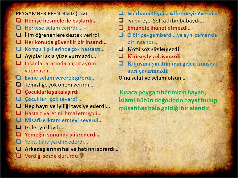 PEYGAMBER EFENDİMİZ (sav)