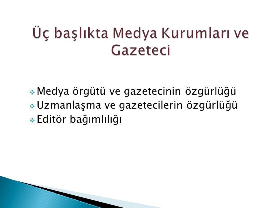 Üç başlıkta Medya Kurumları ve Gazeteci