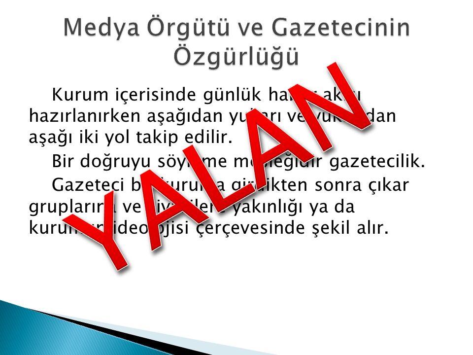 Medya Örgütü ve Gazetecinin Özgürlüğü