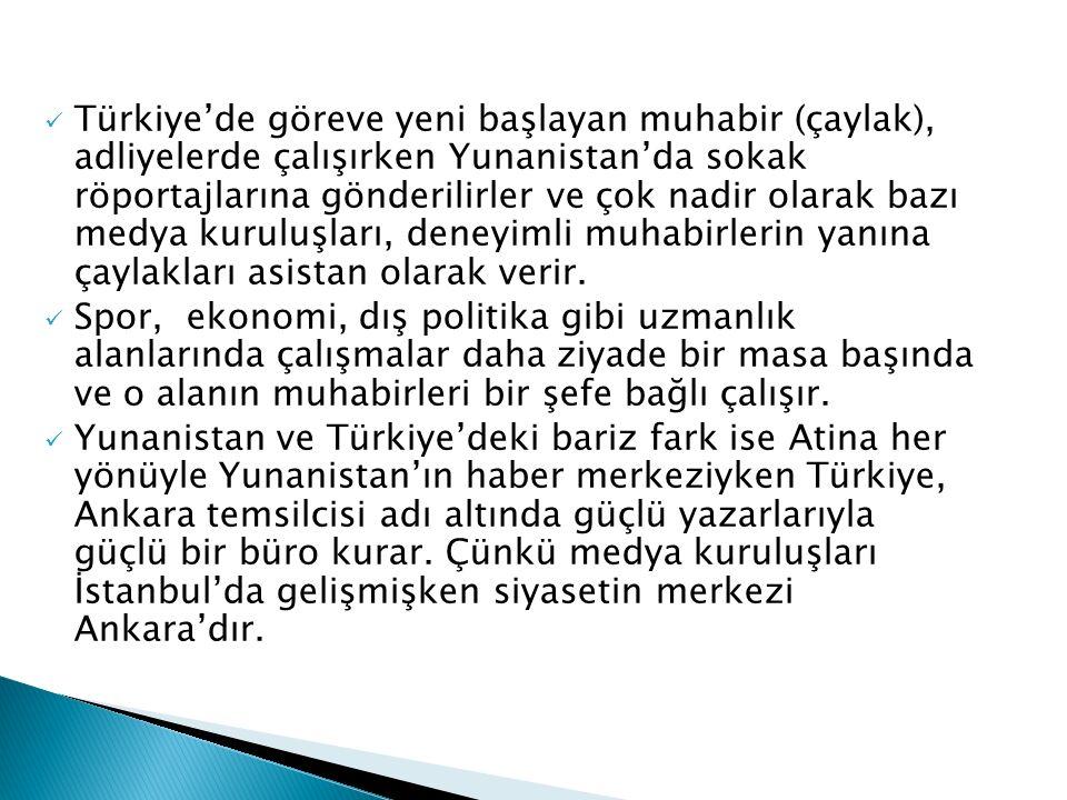 Türkiye'de göreve yeni başlayan muhabir (çaylak), adliyelerde çalışırken Yunanistan'da sokak röportajlarına gönderilirler ve çok nadir olarak bazı medya kuruluşları, deneyimli muhabirlerin yanına çaylakları asistan olarak verir.