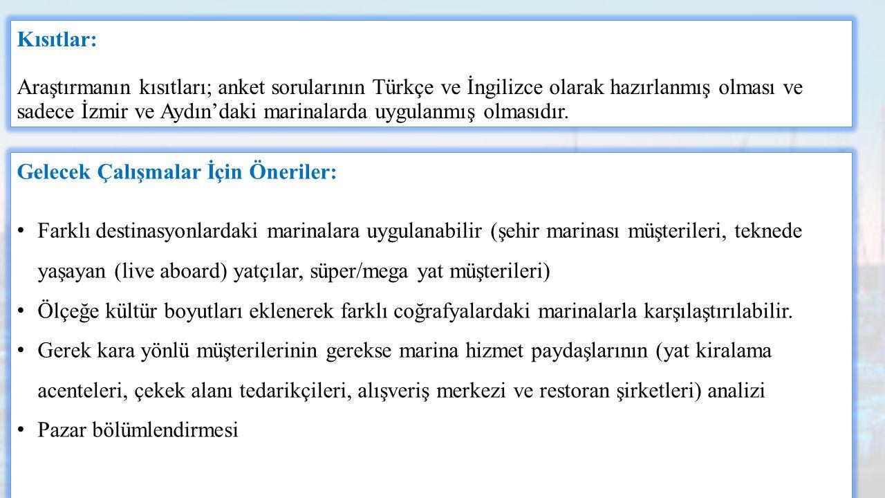 Kısıtlar: Araştırmanın kısıtları; anket sorularının Türkçe ve İngilizce olarak hazırlanmış olması ve sadece İzmir ve Aydın'daki marinalarda uygulanmış olmasıdır.