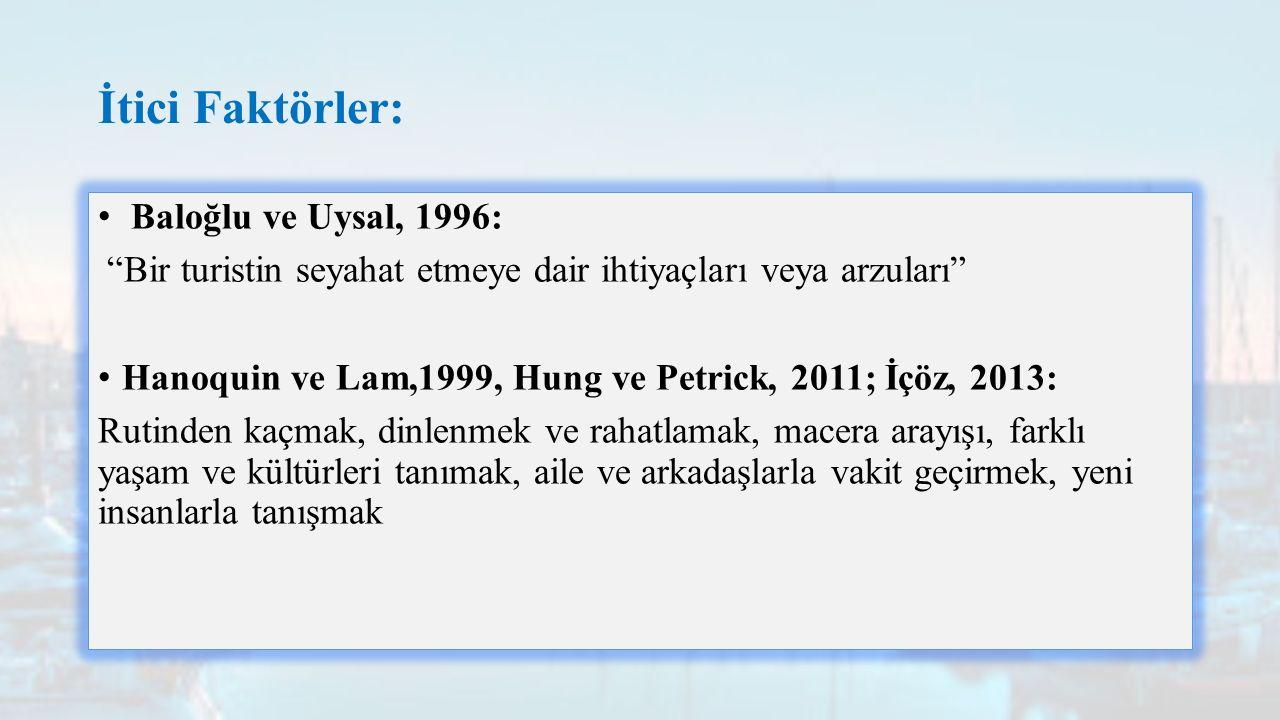 İtici Faktörler: Baloğlu ve Uysal, 1996: