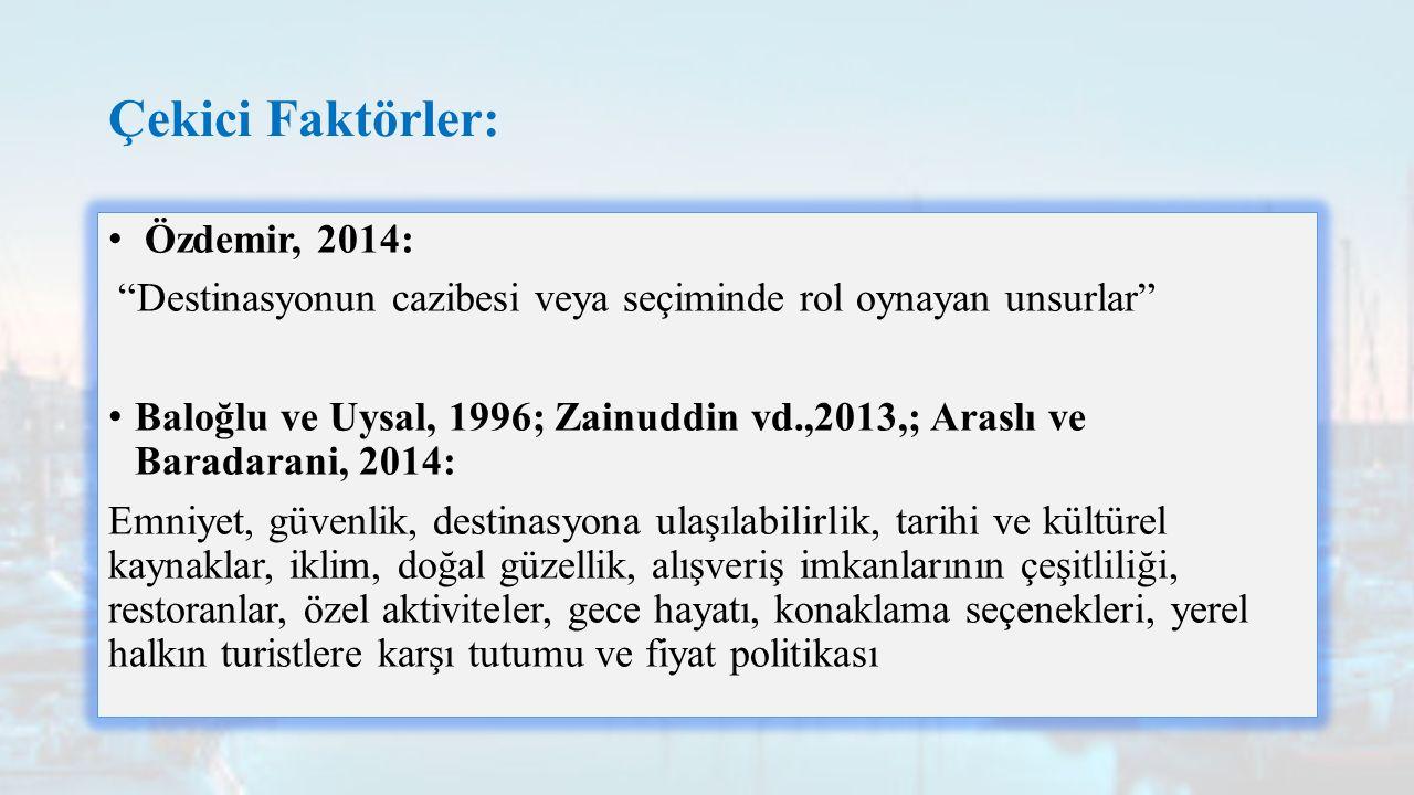 Çekici Faktörler: Özdemir, 2014: