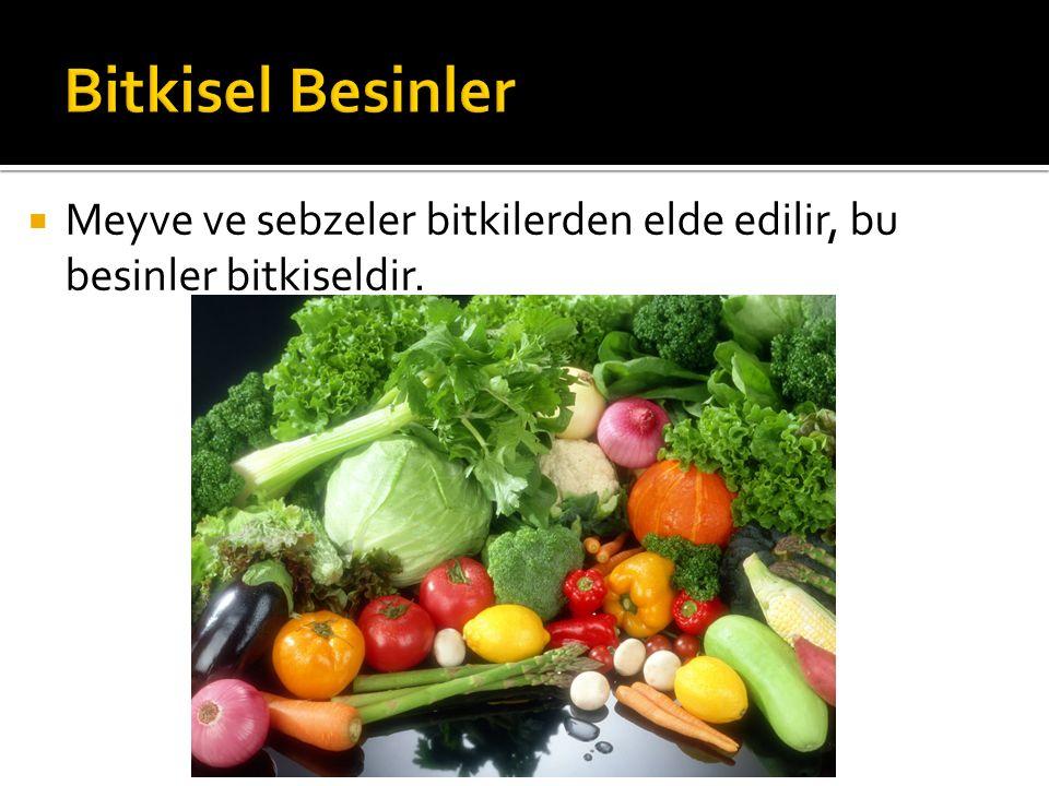 Bitkisel Besinler Meyve ve sebzeler bitkilerden elde edilir, bu besinler bitkiseldir.