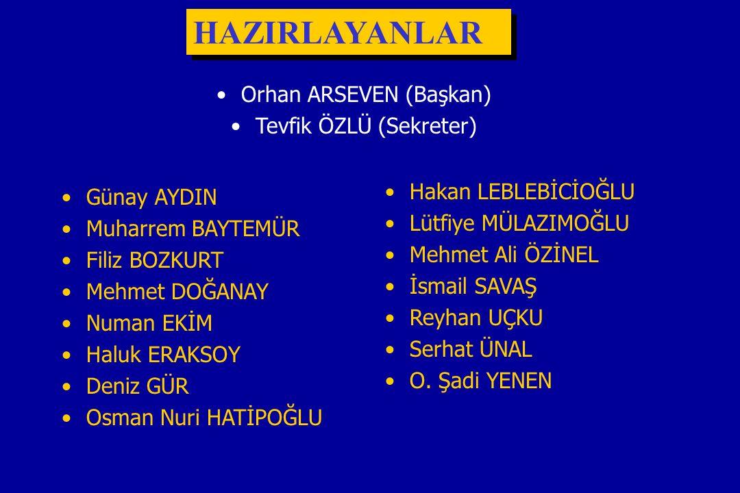HAZIRLAYANLAR Orhan ARSEVEN (Başkan) Tevfik ÖZLÜ (Sekreter)