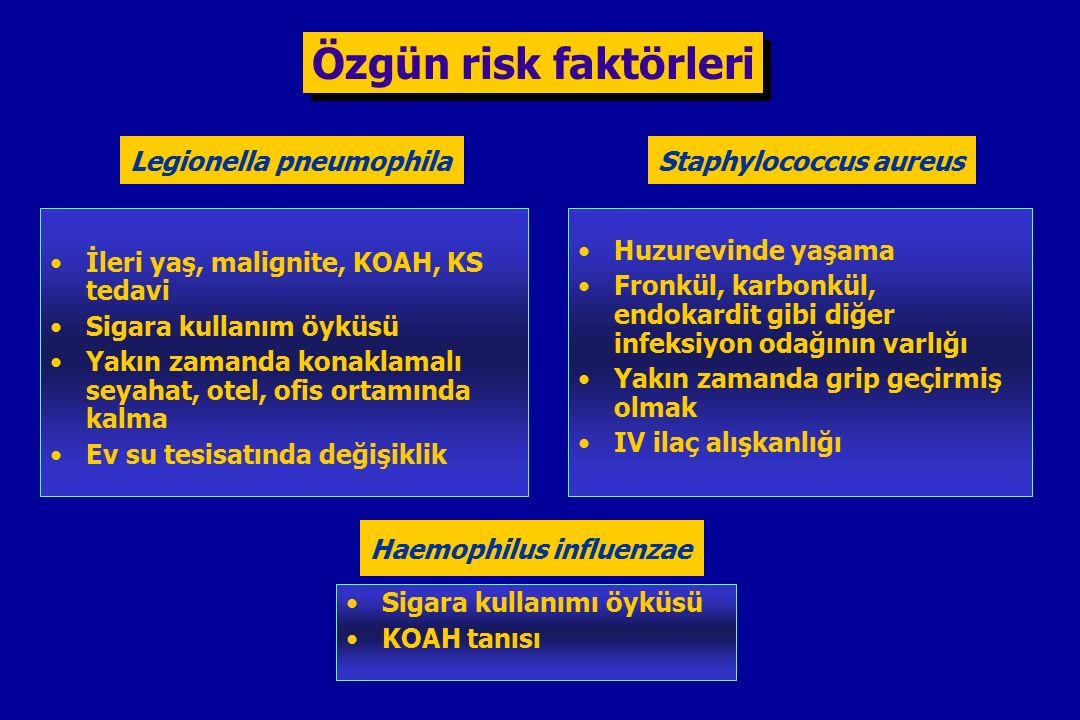 Özgün risk faktörleri Legionella pneumophila Staphylococcus aureus