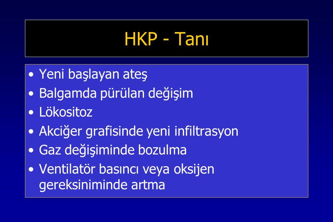 HKP - Tanı Yeni başlayan ateş Balgamda pürülan değişim Lökositoz