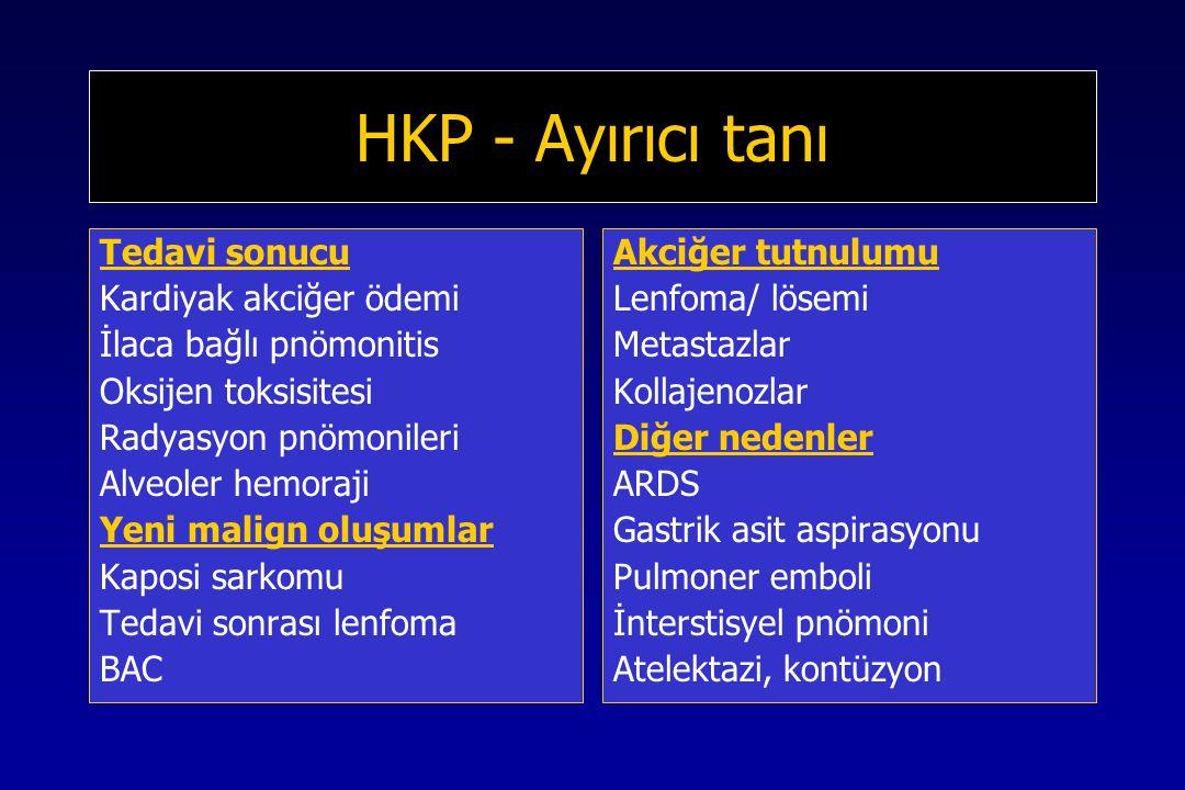 HKP - Ayırıcı tanı Tedavi sonucu Kardiyak akciğer ödemi