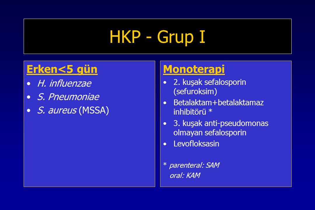 HKP - Grup I Erken<5 gün Monoterapi H. influenzae S. Pneumoniae