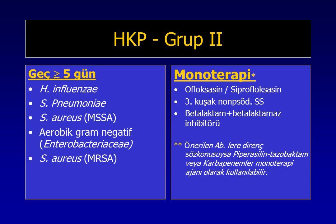 HKP - Grup II Monoterapi* Geç  5 gün H. influenzae S. Pneumoniae