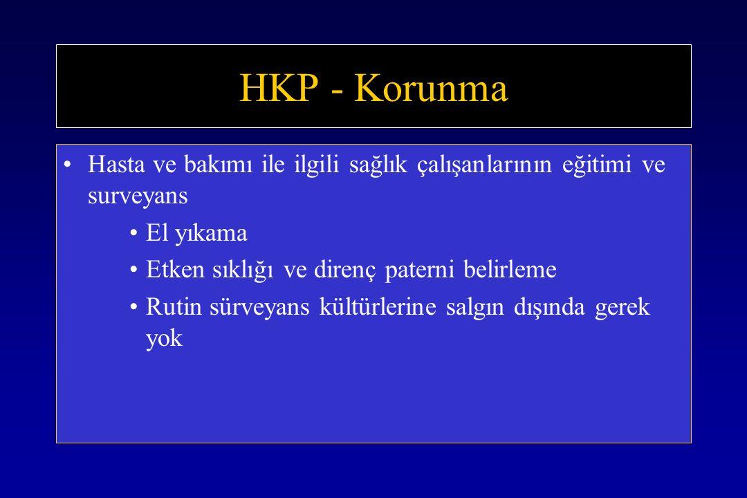 HKP - Korunma Hasta ve bakımı ile ilgili sağlık çalışanlarının eğitimi ve surveyans. El yıkama. Etken sıklığı ve direnç paterni belirleme.