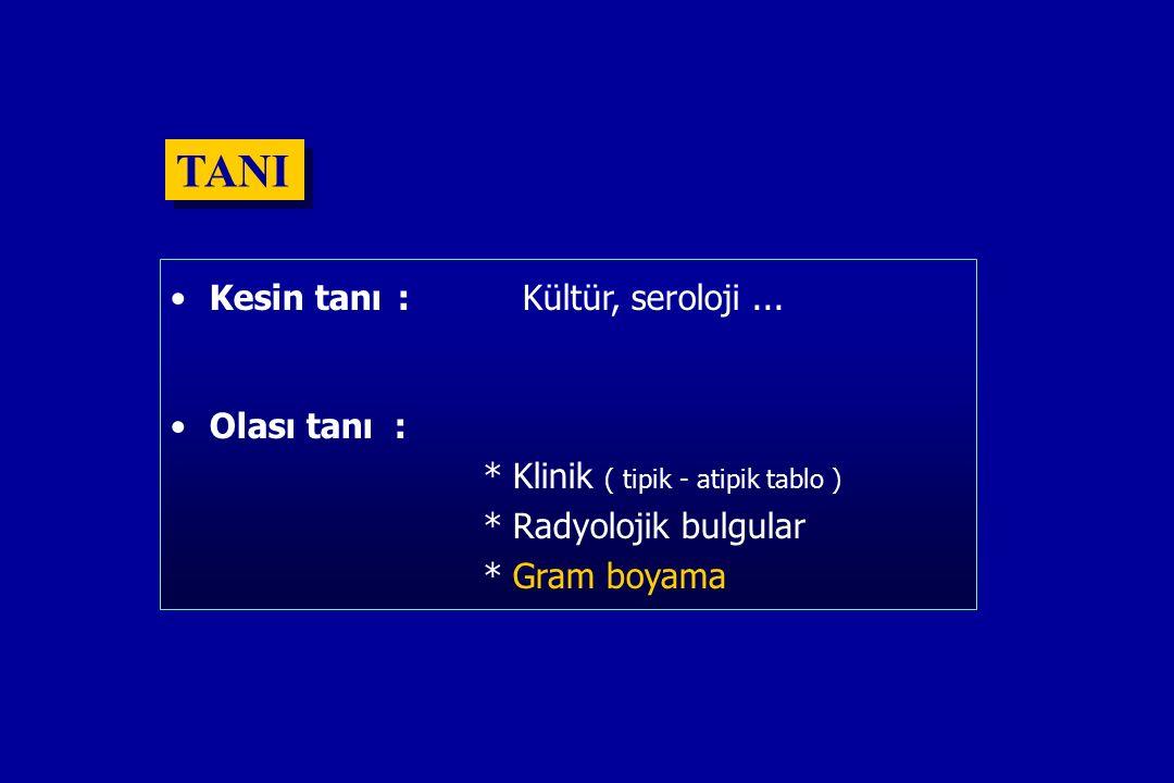 TANI Kesin tanı : Kültür, seroloji ... Olası tanı :