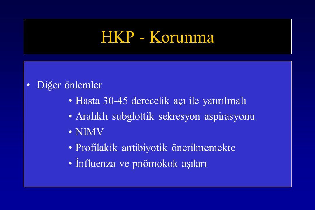 HKP - Korunma Diğer önlemler Hasta 30-45 derecelik açı ile yatırılmalı
