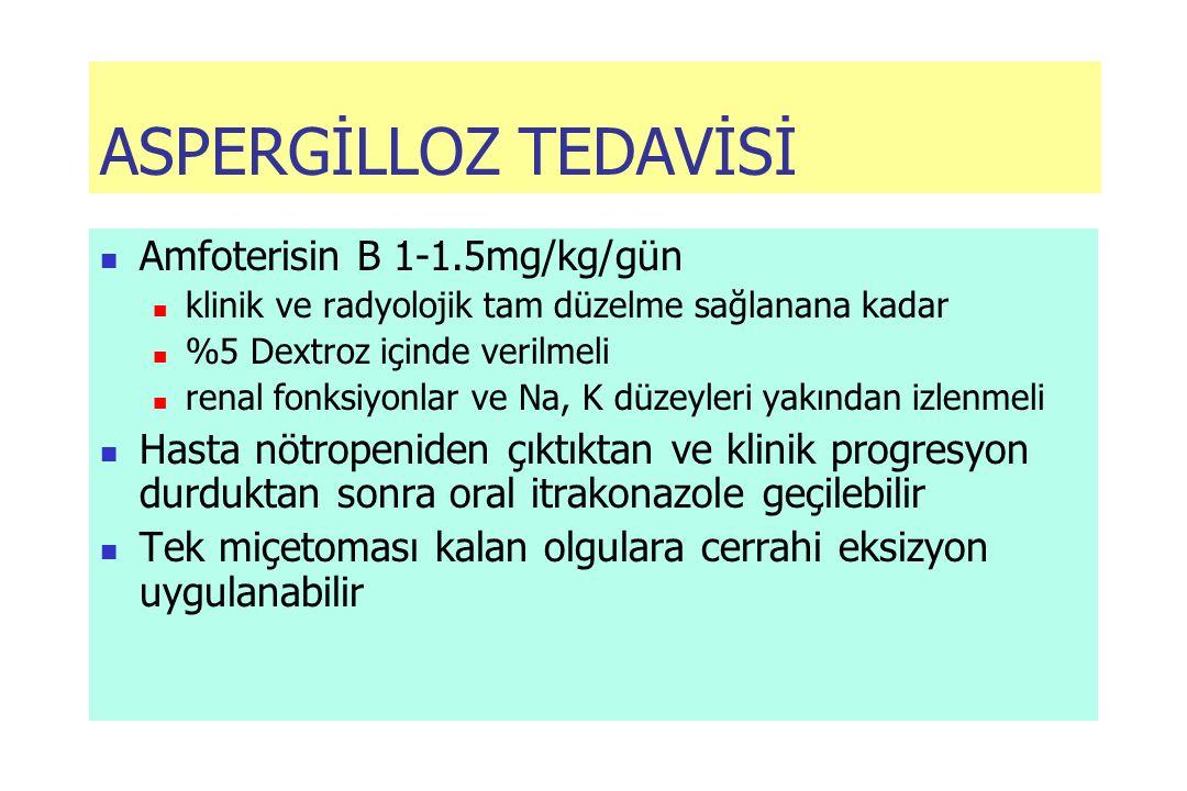 ASPERGİLLOZ TEDAVİSİ Amfoterisin B 1-1.5mg/kg/gün