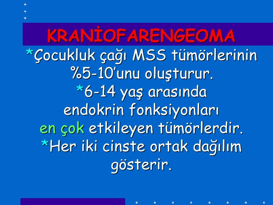 KRANİOFARENGEOMA. Çocukluk çağı MSS tümörlerinin %5-10'unu oluşturur