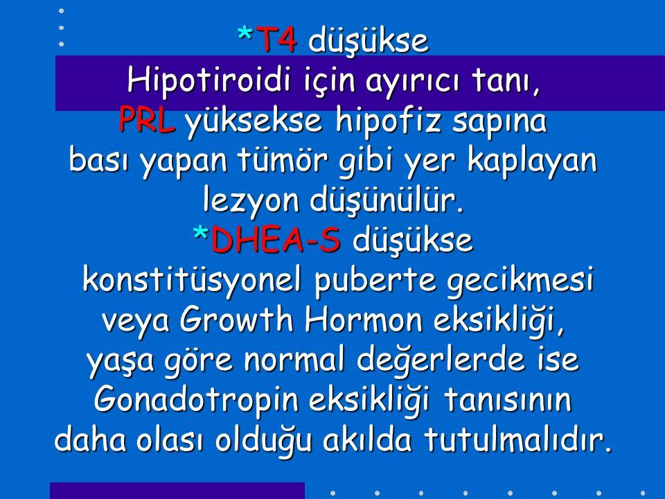 *T4 düşükse Hipotiroidi için ayırıcı tanı, PRL yüksekse hipofiz sapına bası yapan tümör gibi yer kaplayan lezyon düşünülür.