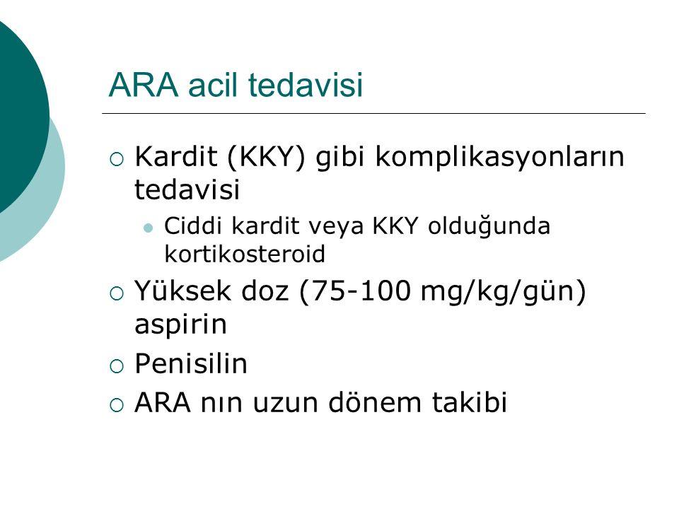 ARA acil tedavisi Kardit (KKY) gibi komplikasyonların tedavisi