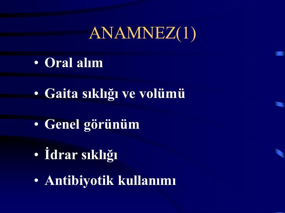 ANAMNEZ(1) Oral alım Gaita sıklığı ve volümü Genel görünüm